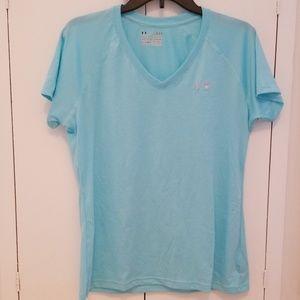 Under Armour blue heat gear v-neck shirt